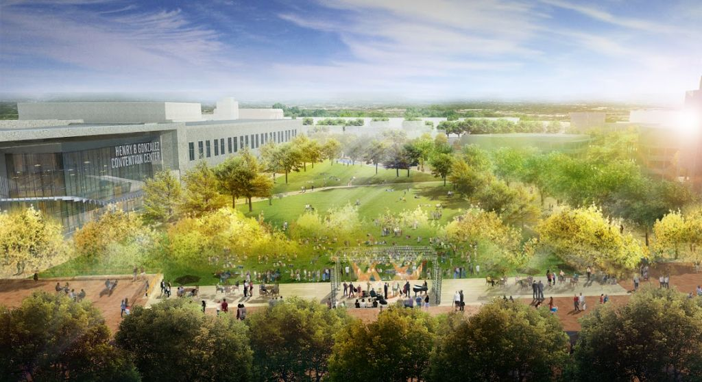 This rendering shows concepts for the civic park at HemisFair Park, the largest segment of the overall redesign. Spanning 15 acres, the civic park faces South Alamo and Market streets. Photo: Courtesy Photo /HPARC